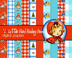Adorable Red Riding Hood digital scrapbook papers