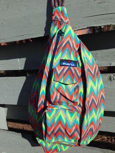 KAVU Rope Bag Retro Arrow Sling Style Backpack Cross Body Large Purse Cotton NEW #KAVU #BackpackStyle