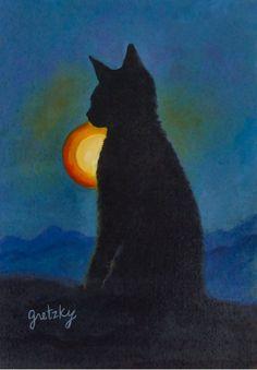 Cat Silhouette Art Print by paintingsbygretzky Cartoon Silhouette, Shadow Silhouette, Silhouette Painting, Trippy Cat, Black Cat Art, Black Cats, Cat Allergies, Cat Applique, Cat Watch