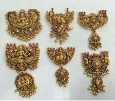 Nakshi Pendant Sets in Temple DesignDeepika dks Pinboard trails ~*~ Gold Temple Jewellery, Gold Jewellery Design, Designer Jewellery, Gold Jewelry, Pendant Set, Pendant Jewelry, Gold Pendent, Chain Pendants, Indian Jewelry Sets