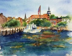 """""""Annapolis Harbor"""" is an 8x10"""" watercolor painting. The quaint town, American flag flying, reflected in the lovely rich blues of the water. Watercolors, Watercolor Paintings, Original Paintings, Annapolis Harbor, Naval Academy, Tree Line, American Flag, Giclee Print, Blues"""