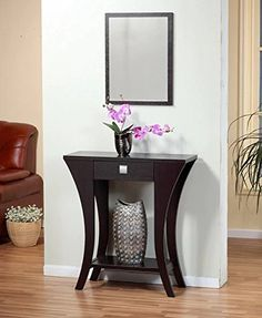Rectangular Cappuccino Finish MDF/Hardwood/Wood Veneer Console Sofa Entry Table With Drawer, Measures 34Hx32Wx12D