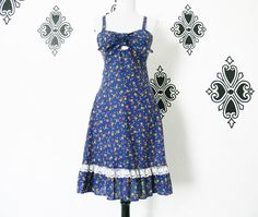 Vintage 70s Navy Calico Floral Bandeau Tie Top Sun Dress XS Lace Trim Ruffled Knee Length by PopFizzVintage on Etsy