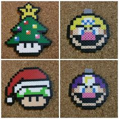 Super Mario Christmas ornaments perler beads by  dynamicbeadworks