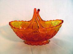 Fenton Split Handled Basket / Amberina Fenton Basket with Split Handle by VintageLoversShop on Etsy
