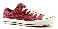 Converse all star cheetah ox text roze lage sneakers