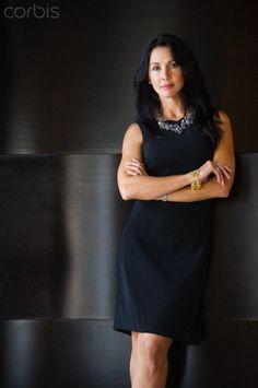 Businesswoman in black dress