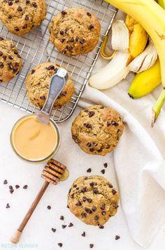 Whole Wheat Peanut Butter Banana Chocolate Chip Muffins | These 100% Whole Wheat Peanut Butter, Banana, Chocolate Chip muffins are 100% delicious! Via @reciperunner