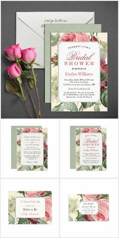 BRIDAL SHOWER COLLECTION Romantic Chic Elegant Vintage Rose Floral Flowers Botanical Pretty Personalized Bridal Shower Invites Announcements Invitations RSVP Cards & more!