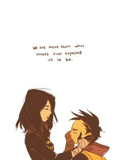 Cassandra comforting Damian << oh my poor Baby Bat...but how sweet of Cass!