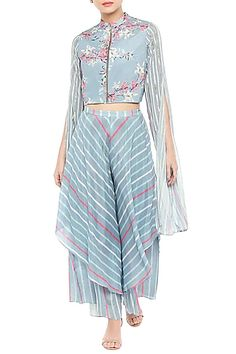 59c5b71994 Featuring a sky blue and pink short jacket in crepe base with hand  embroidery and floral