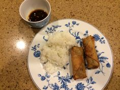 Lumpia, steamed rice and homemade dipping sauce.
