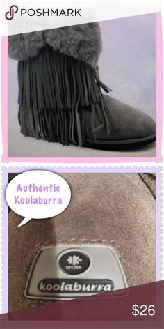 NWT Koolaburra  Grey Fringe Boots Gorgeous Koolaburra boots. The original ones before they were bought out by Ugg.  Purchased and used once for a photo shoot for 10 minutes so listed as NWT.  Absolutely gorgeous boots. Very soft, warm and comfortable.  As seen on celebrities. These run large so could fit up to a size 3 kids. koolaburra Shoes Boots