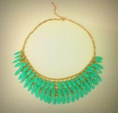 European style sea green drop necklace