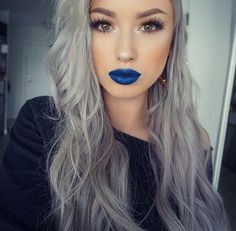 @kerryysabelle: Grey hair and blue lips? I shouldn't, but I LOVE this look! What do you think? *Disclaimer - I do not own this photo.