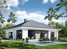 Dostępny D45 wariant I - zdjęcie 2 Modern Bungalow House, Home Fashion, Sweet Home, Mansions, House Styles, Outdoor Decor, Home Decor, Modern Houses, Modern
