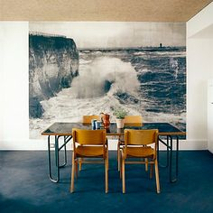 New Ace Hotel in Shoreditch + dining room + mid century modern chairs + blue floors + cream walls + feature size art