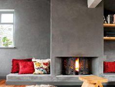 manteau-de-cheminée-eb-béton-décor-extravagant Decoration, Architecture, Construction, Fire, Home Decor, Fireplace Mantle, Home Decoration, Living Room, Decor