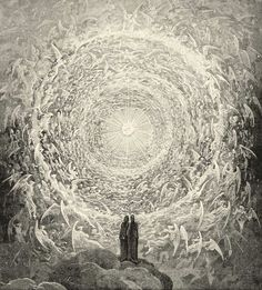 Dante and Beatrice gaze upon the highest Heaven; from Gustave Doré's illustrations to the Divine Comedy, Paradiso Canto 28, lines 16–39