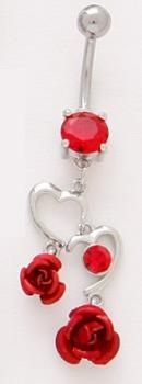 Dual Abstract Heart Outlines with Hanging Red Roses Dangle Belly Button Navel Ring