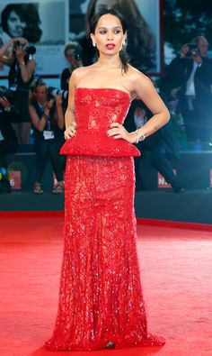 Zoe Kravitz in a strapless red Armani Prive dress - click through to see more of the best Venice Film Festival fashion ever