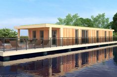 A CGI Plan of a 2 bed Eco-Lodge at Tyram Lakes, showing the lake view terrace with hot tub, solar panels and internal footprint. Lake Hotel, Nature Reserve, Under Construction, Lake View, Resort Spa, Footprint, Cgi, Solar Panels, Lakes