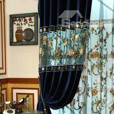 European Style Luxury Embroidery Custom Grommet Top Curtain