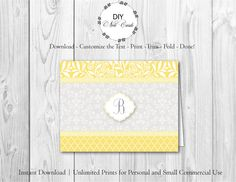Chic Lemon Floral - DIY Printable Monogram Note Card Template - Add Text, Print, Trim, Fold, Done! Unlimited Personal Prints. MCS.0109 by DIYNotecards on Etsy
