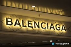 LED Backlit Signs With Mirror Polished Gold Plated Letter Shell For Balenciaga Shop Board Design, Name Board Design, Shop Front Design, Shop Signage, Signage Design, Backlit Signs, Led Signs, Led Sign Board, Custom Business Signs