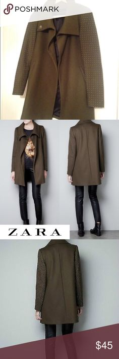 Zara Studded Sleeve Coat Stylish wool coat with waterfall collar and silver studded sleeves in olive/khaki.  Condition: Very good, worn a handful of times.  No trades, no lowballing. Zara Jackets & Coats