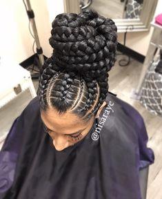 Gorgeous braided bun via @nisaraye - https://blackhairinformation.com/hairstyle-gallery/gorgeous-braided-bun-via-nisaraye/