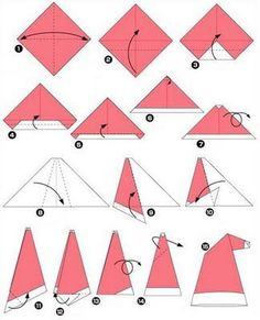 """Simple Origami Santa Claus Hat (remember to """"fluff"""" when done.) It works with a dollar bill"""