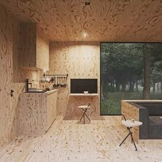 Polish designer Tomek Michalski has created this quiet forest cabin. The contemplative cabin is set within the depths of a forest in Poland, and is the Plywood Interior, Plywood Walls, Interior Walls, Interior And Exterior, Interior Design, Kitchen Interior, Cabin Design, House Design, Ideas De Cabina