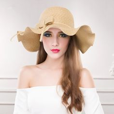 Pink straw sun hats for women wave wide-brimmed sun hats
