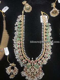 guttapusalu long chain with heavy chandbalis, kundan long chain with rice pearls bunches India Jewelry, Pearl Jewelry, Beaded Jewelry, Jewelery, Pearl Necklaces, Gold Jewelry, Bridal Jewelry Sets, Bridal Jewellery, Vintage Jewellery