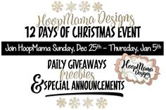 12 Days  Of Christmas Event with HoopMama! Sunday, December 25th - Thursday, January 5th! Daily freebies, giveaways and special announcements!