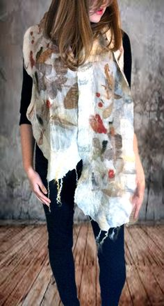 Felted scarf, made from eco-printed silk and merino wool with fleece trim