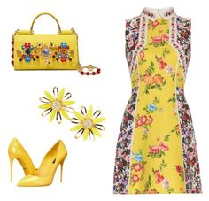 """Yellow set"" by gloria-yi-qiao on Polyvore featuring Mary Katrantzou, Dolce&Gabbana and Kate Spade"