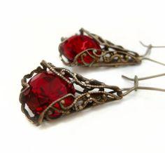 Red earrings dangle earrings artisan crafted filigree door Federikas, $40.00