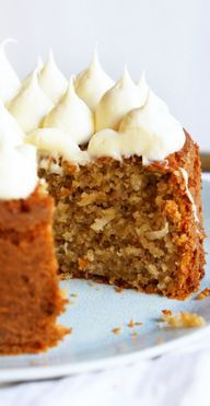 Banana Cake with Coconut - I like how the frosting is piped on this cake.  (: