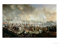 Vivien Hussey's British Hussar Brigade attacking French infantry at the Battle of Waterloo. The Battle of Waterloo, 18th June 1815