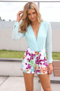 """Mint Lake"" Bodysuit Floral Shorts"