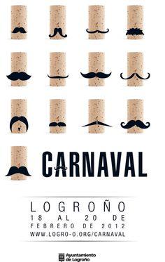 Moustache Party. Cartel ganador del carnaval de Logroño 2012. ESDIR. Corchos de vino y bigotes.