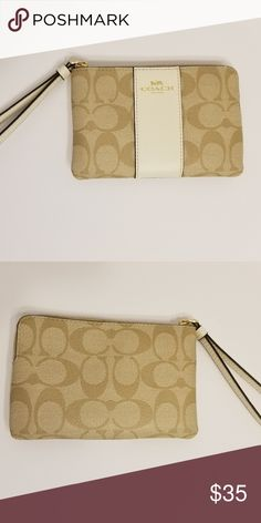 Coach wristlet Brand new Khaki Coach wristlet. Beautiful outfit topped/side piece.   Please note we offer a 30 day money back/exchange guarantee on all of our products. Coach Bags Clutches & Wristlets #Wristlets
