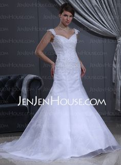 Wedding Dresses - $157.19 - Mermaid Sweetheart Court Train Organza Satin Wedding Dresses With Lace Beadwork (002011713) http://jenjenhouse.com/Mermaid-Sweetheart-Court-Train-Organza-Satin-Wedding-Dresses-With-Lace-Beadwork-002011713-g11713
