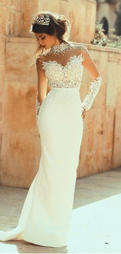 Beading High Collar Long Sleeves Sheath/Column Wedding Dress #wedding #dress #bride