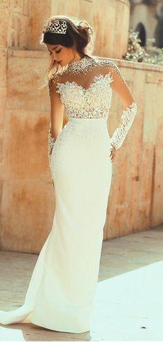 Beading High Collar Long Sleeves Sheath/Column Wedding Dress #wedding #dress #bride