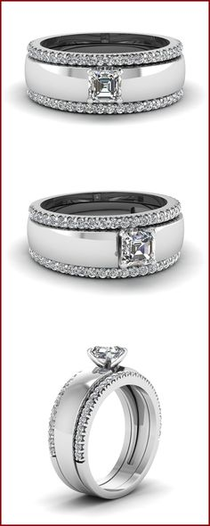 Asscher cut Trio Wedding Ring Set made in Solid White Gold