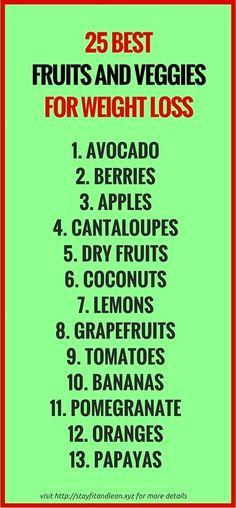The 3 Week Diet Weightloss - 25 Best Fruits and Veggies for Weight Loss. - A foolproof, science-based diet.Designed to melt away several pounds of stubborn body fat in just 21 libras en 21 días! Diet Plans To Lose Weight, How To Lose Weight Fast, Losing Weight, Fast Weight Loss, Weight Loss Tips, 2 Week Diet, Fruit Diet, Weights For Women, Fat Loss Diet
