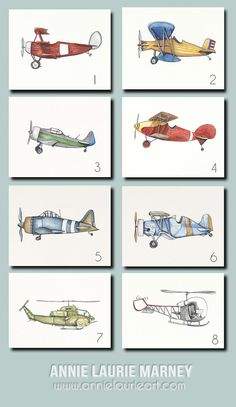 Vintage Airplane  8x10 Watercolor Prints SET OF 6 by AnnieLaurieArt, $80.00